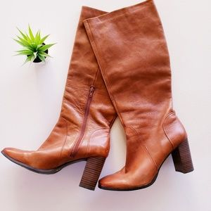 NINE WEST Cognac Knee High Leather Boots